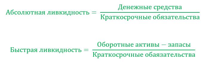 Формулы ликвидности