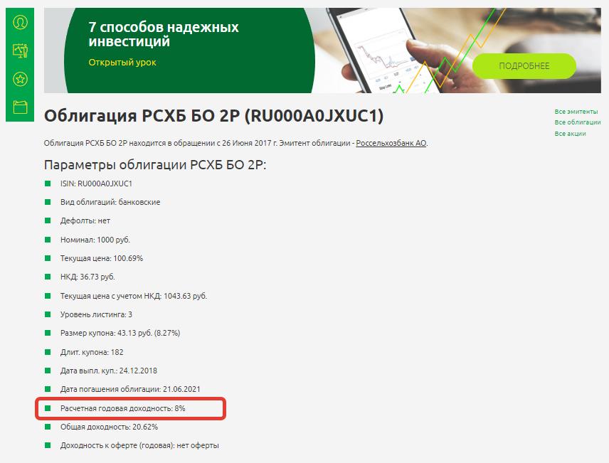 облигация РСХБ БО 2P