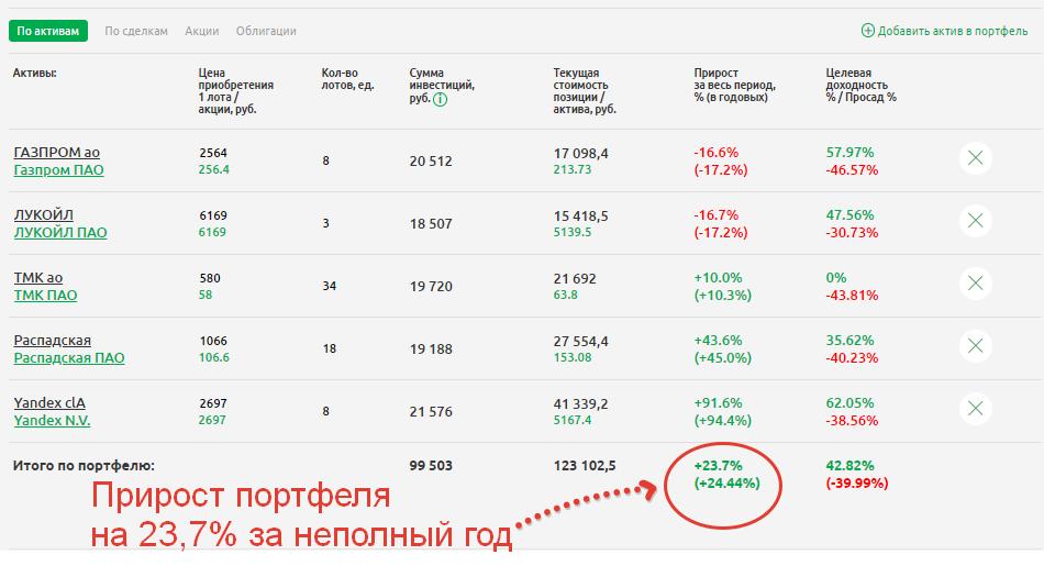 Смоделированный инвестиционный портфель из российских акций
